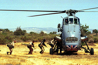 Westland Wessex - Troops embarking on a Westland Wessex during a training exercise