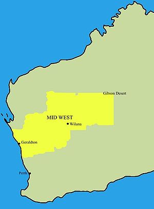 Mid West (Western Australia) - Location of Mid West region in Western Australia