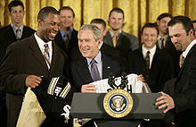 Victorious White Sox players being honored at the White House by President George W. Bush.