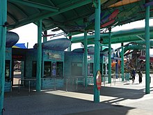 WhiteWater World's main entrance gates showcase the park's Australian beach culture theme.