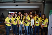 Wikimedia Mexico volunteers on first day of Wikimania 2015 02.JPG