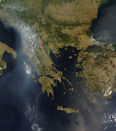 Wildfires across the Balkans in late July 2007 (MODIS image) Wildfires Balkans July 2007-NASA.jpg