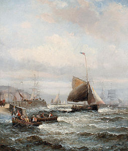 William Anslow Thornley - A busy harbour scene.jpg