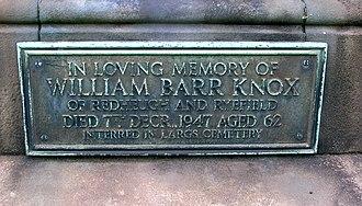 Drakemyre, North Ayrshire - Plaque to William Barr Knox at Kilbirnie.