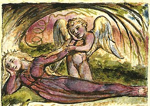 The Angel (Songs of Experience) - Image: William Blake The Angel Copy W 1825 detail