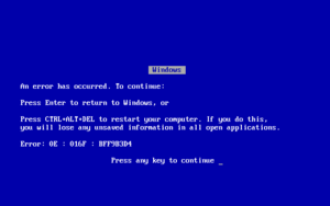 Blue Screen of Death - A blue screen of death, as appears on Windows 9x