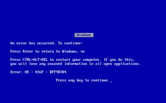 Blue Screen of Death - A blue screen of death, as appears on Windows 9x