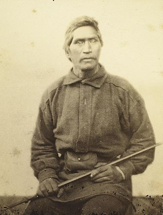 Ngāti Hauā - Wiremu Tamihana sitting. Photograph taken by John Kinder in 1860. The photograph is labelled with Tamihana's anglicized name, William Thompson