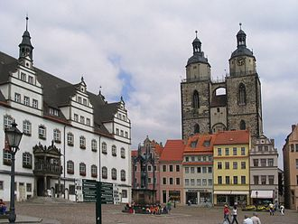 Market town - The market square (Marktplatz) in Wittenberg, Germany (in 2005)