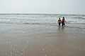 Woman and Children with Sea Waves - New Digha Beach - East Midnapore 2015-05-03 9861.JPG