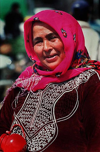 Old woman wearing hijab