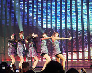 """2 Different Tears - The group performing """"2 Different Tears"""" at the EMP Museum in Seattle, during the Wonder Girls World Tour in 2010. From left to right: Yeeun, Hyerim, Sohee, Sunye, Yubin"""
