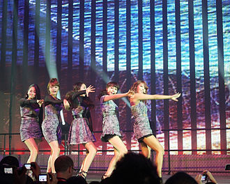 "2 Different Tears - The group performing ""2 Different Tears"" at the EMP Museum in Seattle, during the Wonder Girls World Tour in 2010. From left to right: Yeeun, Hyerim, Sohee, Sunye, Yubin"