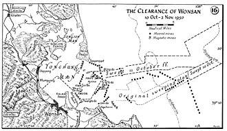Blockade of Wonsan - A battle map of Operation Wonsan.