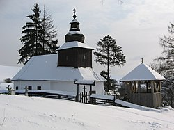 Wooden church in Kalná Roztoka, Slovakia (in winter).JPG
