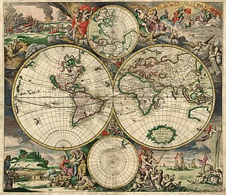 History of navigation - Map of the world produced in 1689 by Gerard van Schagen.
