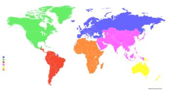 Zuständigkeitsgebiete der Kontinentalverbände