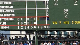 Wrigley Field - The scoreboard at Wrigley Field is operated by hand.