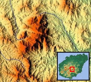 Wuzhi Mountain - Topographical map of Wuzhi Mountain