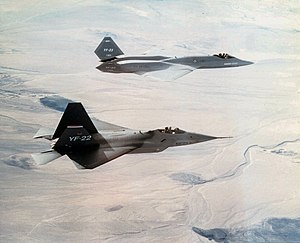 Northrop YF-23 - A YF-22 in the foreground with a YF-23 in the background
