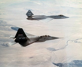 Advanced Tactical Fighter - The YF-22 (foreground) and YF-23 (background)