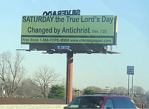 Historic Adventism - Image: Yellow Church Billboard