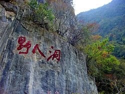 "Inscription in cliff face next to the entrance of the ""Yeren Cave"". The inscription reads ""Ye Ren Dong"" (""Wild Man Cave"")."