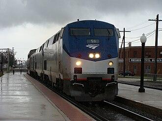 Galesburg station (Amtrak) - Image: Zephyr westbound arriving Galesburg