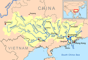 Rivers Map Of China.Pearl River China Wikipedia