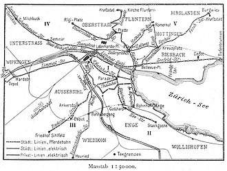 Trams in Zürich - The mix of routes in 1899, distinguishing city owned (Stadt) and private (Privat), and horse (Pferdebahn) and electric (elektrisch)