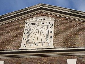 "Brick Lane Mosque - Image: ""Umbra Sumus"" sundial geograph.org.uk 321257"