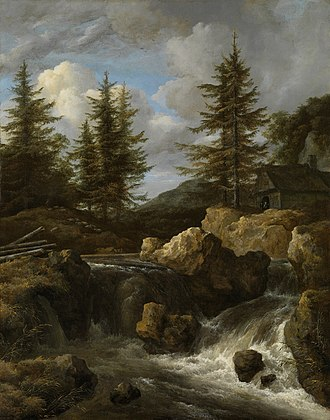 A Waterfall in a Rocky Landscape - Image: 'A Waterfall in a Rocky Landscape' by Jacob van Ruisdael