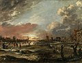 'Winter Landscape with Skaters at Sunset' by Aert van der Neer.jpg