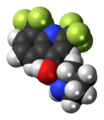 (RS)-Mefloquine molecule spacefill.png