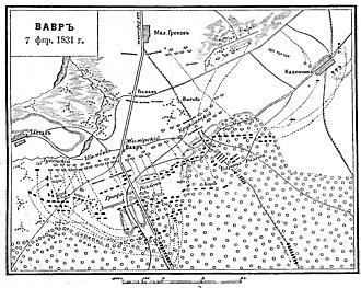 First Battle of Wawer - Image: Карта к статье «Вавр» № 2. Военная энциклопедия Сытина (Санкт Петербург, 1911 1915)
