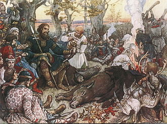 Vladimir II Monomakh - Monomakh rests after hunting (painting by Viktor Vasnetsov, c. 1900).