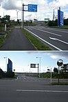 北海道道63号函館空港線・空港ターミナルビル取付道路交点(2枚合成、上・空港ターミナルビル側から、下・本線側から).jpg