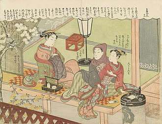 Oiran - An oiran sitting with a client and an apprentice, ukiyo-e print by Suzuki Harunobu (1765).