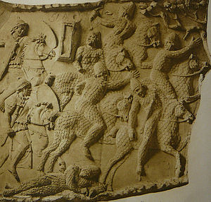 Spangenhelm - Sarmatian warriors with Spangenhelms, Trajan's Column (around 110 A.D.)