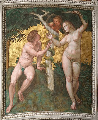 Raphael Rooms - Adam and Eve, ceiling fresco from the Stanza della Segnatura.