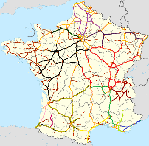Motorway Map Of France.Autoroutes Of France Wikipedia