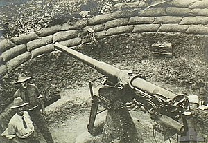 QF 12-pounder 12 cwt AA gun - 12 pdr 12 cwt gun in use as improvised anti-aircraft gun on garrison mounting, Gallipoli 1915
