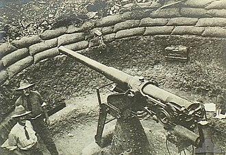 QF 12-pounder 12 cwt AA gun - 12 pdr 12 cwt gun in use as improvised anti-aircraft gun on garrison mounting, Gallipoli 1915