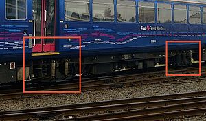 British Rail Class 143 - Unlike most other stock on the UK network, Class 143s (in common with other Pacers) lack bogies, instead having single axles at each end of the vehicle (Red Boxes).