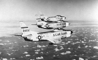 157th Fighter Squadron - 157th FIS 3-ship F-86L Sabre Interceptor aircraft formation, 1959