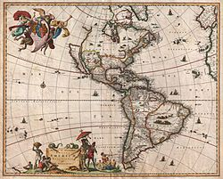 1658 map of the Americas by Nicholas Visscher showing Nova (New) Albion on an island identified as California.