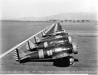 17th Bombardment Group - Boeing P-26A Peashooters of the 17th Pursuit Group, March Field, California.