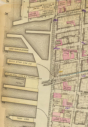 17th and 18th Streets Crosstown Line - 1879 map of the Christopher Street Ferry area, including the 17th and 18th Streets Crosstown Line, 8th Street Crosstown Line, and West Belt Line