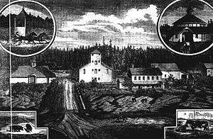 Simeon Gannett Reed - An 1880 lithograph of Reed's farm in Washington County, Oregon