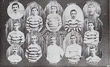 A series of small photographs of the upper body shots of a series of male football players.